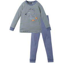SCHIESSER Pyjama taubenblau / limette