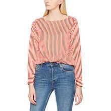 PIECES Damen Bluse Pcilora LS Top, Mehrfarbig (Flame Scarlet Stripes: Flame Scarlet + Bright White), 36 (Herstellergröße: S)
