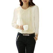 Minetome Damen bluse Spitzenbluse Langarmshirts Perlen Stehkragen Tops Tuniken Oberteil Slim Fit Tuniken ( Weiß EU L )