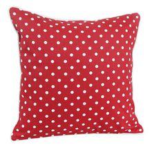 Homescapes dekorative Kissenhülle Polka Dots, rot, 60 x 60 cm, Kissenbezug mit Reißverschluss aus 100% reiner Baumwolle