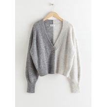 Colour Block V-Neck Sweater - White