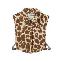NAME IT Leopardenprint Kragen beige / dunkelbeige
