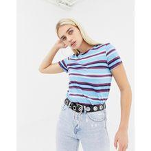 Noisy May - Gestreiftes T-Shirt - Violett