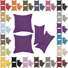 Nurtextil24 Kissenbezüge 2er Set Leinen-Optik 25 Farben und 20 Größen Blickdicht mit Reißverschluss Dunkellila 60 x 80 cm