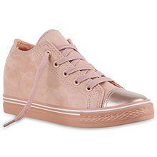 Damen Sneaker Wedges Keilabsatz Sneakers Glitzer Zipper Wedge Turn Metallic Schuhe 136847 Rosa Metallic 39 Flandell