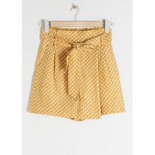 Belted Linen Blend Skort - Yellow