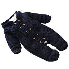 Free Fisher Baby Jungen/Mädchen Strick-Overall Jumpsuit Strampler Einteiler mit unabnehmbarer Kapuze, Schwarzblau, Gr. 80/86( Herstellergröße: 88)