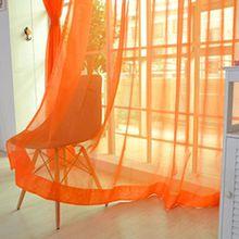 Ouneed® Transparente einfarbige Gardine aus Voile, viele attraktive Farben,2 PCS-reine Farbe Tulle Türfenstervorhang drapieren Panel-Sheer-Schal Volants 200x100 (Orange)