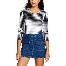 PIECES Damen Langarmshirt Pcraya Round Neck Blouse Noos, Mehrfarbig (Navy Blazer), 40 (Herstellergröße: L)