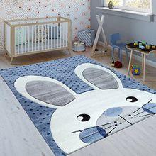 Paco Home Kinderteppich Indigo Blau Trend Modern Niedlicher Hase Gepunktet 3D Kurzflor, Grösse:120x170 cm