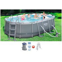 BESTWAY Set: Ovalpool »Power Steel«, 4-tlg., BxLxH: 250x424x100 cm