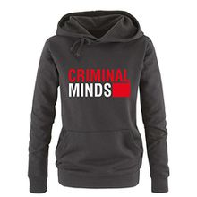 Comedy Shirts - CRIMINAL MINDS - Damen Hoodie - Schwarz / Weiss-Rot Gr. L