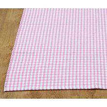 Homescapes Gingham Karo Teppich Vorleger, 110 x 170 cm, 100 % reine Baumwolle, rosa und weiß
