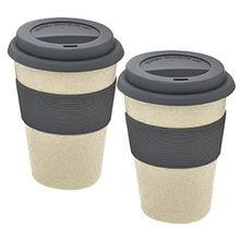 "2er Set Magu Kaffeebecher für unterwegs ""Coffee to Go"" beige Bambus Natur-Design, Trinkbecher mit Silikondeckel, 135 465"