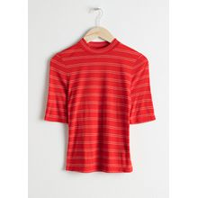 Mock Neck Striped Tee - Red