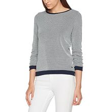 TOM TAILOR Denim Damen Sweatshirt Sweat w.Dots and Gathering, Blau (Real Navy Blue 6593), 36 (XS)