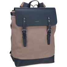 Sandqvist Laptoprucksack Hege Canvas Backpack Earth Brown/Navy Leather (18 Liter)