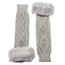 Strickwolle Armstulpen Pulswärmer Handschuhe fingerlos Stulpen Damenhandschuhe Winterhandschuhe (Hellgrau)