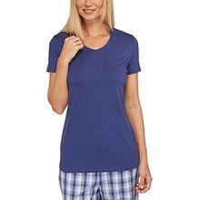Schiesser Damen Schlafanzugoberteil Mix & Relax Shirt 1/2 Arm, Gr. 46, Blau (dunkelblau 803)