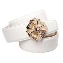 Anthoni Crown Ledergürtel mit Unterführung Ledergürtel weiß