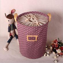 ALLTOP premium cartoon foldable cotton line Wäschekorb Klapp Kinder Spielzeug organizer Spielzeug aufbewahrung Spielzeug Warenkorb Kleidung Halter wäschebox mit Deckel gepunktet, lila