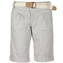 Fresh Made Damen Bermuda-Shorts im Chino Style mit Flecht-Gürtel | Elegante kurze Hose in Pastellfarben light-beige S