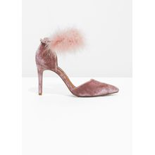 Feather Velvet Pumps - Orange