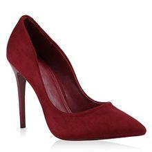 Stiefelparadies Spitze Damen Pumps Stilettos Lack High Heels Elegant Schuhe 144171 Dunkelrot 40 Flandell