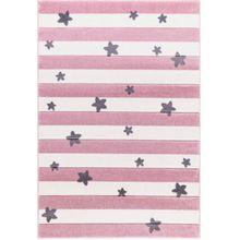Happy Rugs Kinderteppich, STARS and STRIPES rosa/weiß