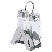 Menage, 2-teilig, mit Karten-/Serviettenhalter, für Salz & Pfeffer, Gestell aus Edelstahl 18/0, Kappen aus Edelstahl 18/10, Pressglaseinsätze / 8 x 5,5 x 12 cm | ERK