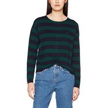 Tommy Jeans Hilfiger Denim Damen Pullover Thdw Basic CN Stp Sweater L/S 18, Blau (Total Eclipse/Pine Grove 903), X-Large