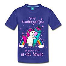 Spreadshirt Einschulung Einhorn Bye Kindergarten Kinder Premium T-Shirt, 134/140 (8 Jahre), Königsblau