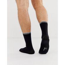 Fred Perry - Schwarze Socken mit Logo und Zierstreifen - Weiß