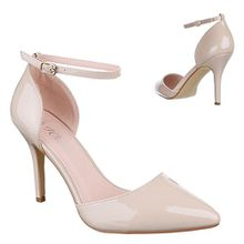 Ital-Design High Heel Damen-Schuhe Pfennig-/Stilettoabsatz High Heels Pumps Beige, Gr 40, 9968-9-