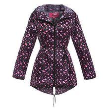 SS7 Damen Wasserabweisend Regenmantel, pink Herz, sizes 8 to 22 - Rosa Herz, 42