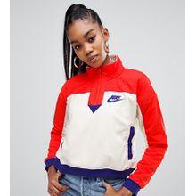 Nike - Sweatshirt aus Polar-Fleece in Rot und Beige mit kurzem Reißverschluss - Mehrfarbig