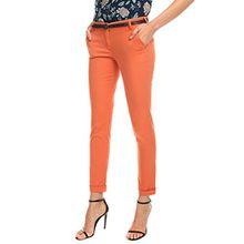 oodji Ultra Damen Chinohose Slim Fit mit Stern-Perforiertem Gürtel, Orange, DE 34 / EU 36 / XS