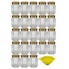 Viva Haushaltswaren 18 x kleines Einmachglas 110 ml mit goldfarbenem Deckel, sechseckige Glasdosen als Marmeladengläser, Gewürzdosen, Gastgeschenk etc. verwendbar (inkl. Trichter)