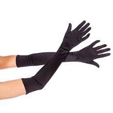 """Damen lange Satin Abend Party Kostüm Handschuhe 21"""" Bräute Hochzeit Handschuhe Black"""