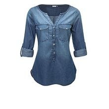 JACQUELINE de YONG Damen Jeans-Bluse Langarmbluse Tunika (XS, Medium Blue Denim)