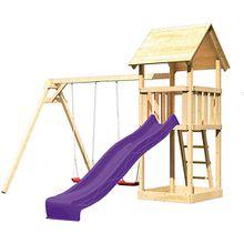 Spielturm Lotti mit Satteldach, Doppelschaukel und Rutsche violett