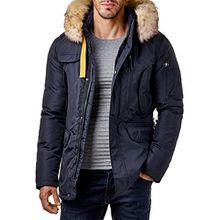 EightyFive Herren Winter-Jacke Mantel Fell-Kapuze Khaki Navy Beige Schwarz EF317, Größe:M, Farbe:Navy