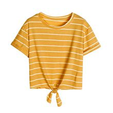 KEERADS T-Shirt Damen Sommer Bauchfrei Gestreift Crop Tops Streifen Oberteile Bluse Shirt (S, Gelb)