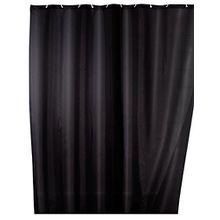 Wenko Anti-Schimmel Duschvorhang Uni Black I Anti-bakterieller Vorhang für die Dusche inkl. 12 Duschvorhangringen I Blickdichter Vorhang in Schwarz - aus 100% Polyester, 180 x 200 cm
