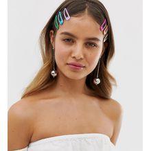 DesignB London - Glitzernde Haarklammern in Regenbogenfarben im 10er-Set - Mehrfarbig