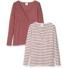 MAMALICIOUS Damen Umstandslangarmshirt Mllea Organic Tess Mix L/S Top NF 2PACK, 2er Pack, Braun (Rose Brown Pack:Yarn Dyed Rose Brown/Snow White), 40 (Herstellergröße: L)