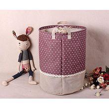 Soriace aufbewahrung, premium foldable cotton line Wäschekorb Klapp Kinder Spielzeug organizer Spielzeug aufbewahrung Spielzeug Warenkorb Kleidung Halter wäschebox mit Deckel gepunktet, lila