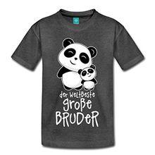 Spreadshirt Weltbester Großer Bruder Niedliche Pandas Kinder Premium T-Shirt, 110/116 (4 Jahre), Anthrazit
