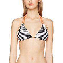 PIECES Damen Bikinioberteil Pcliva Triangle Bra Stripe, Mehrfarbig (Black), 38 (Herstellergröße:M)