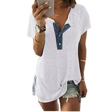 KEERADS Shirt Damen Sommer Kurzarm V-Ausschnitt mit Knopf Tops Oberteile Bluse Shirt (L, Weiß)